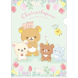 A4 file folder Chairoikoguma's Friends | green
