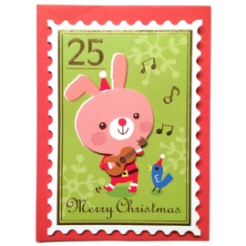 Mini kerstkaart Musical Bunny
