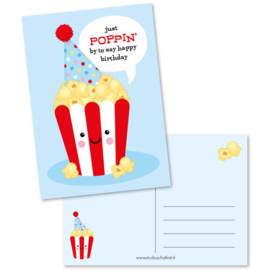 Postcard just POPPIN' by to say happy birthday | blue
