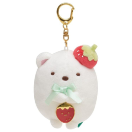 Sumikko Cafe Strawberry Fair keychain | Shirokuma