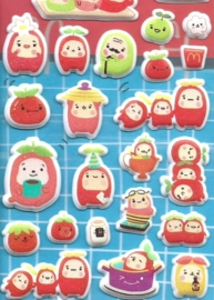 Puffy sticker sheet Food with Faces
