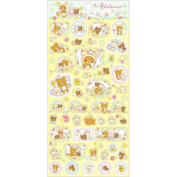 Stickers San-X Rilakkuma Rabbits Flower Forest yellow
