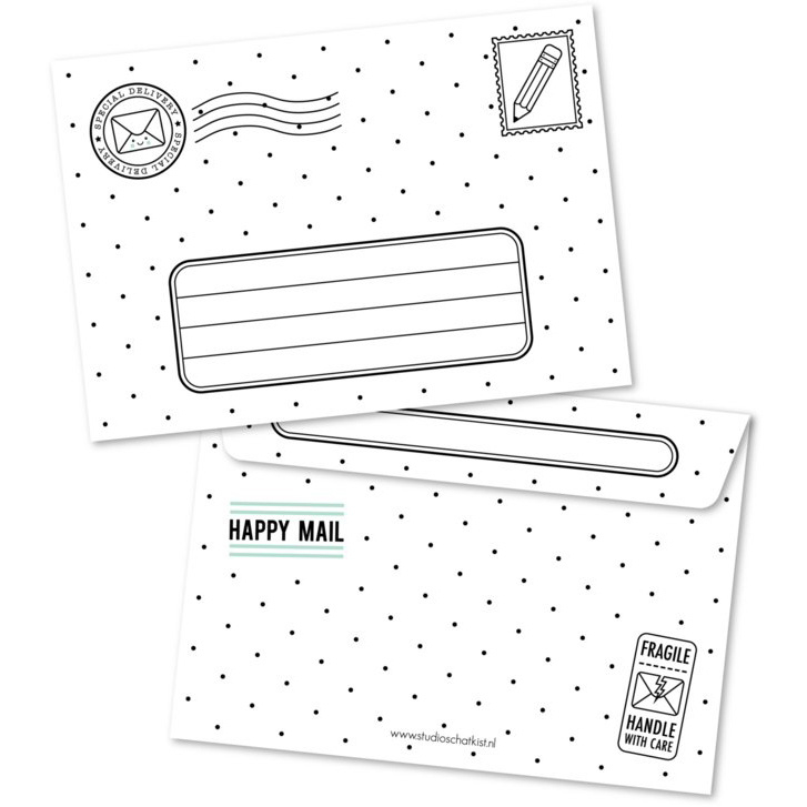Envelop Special Delivery - zwart wit