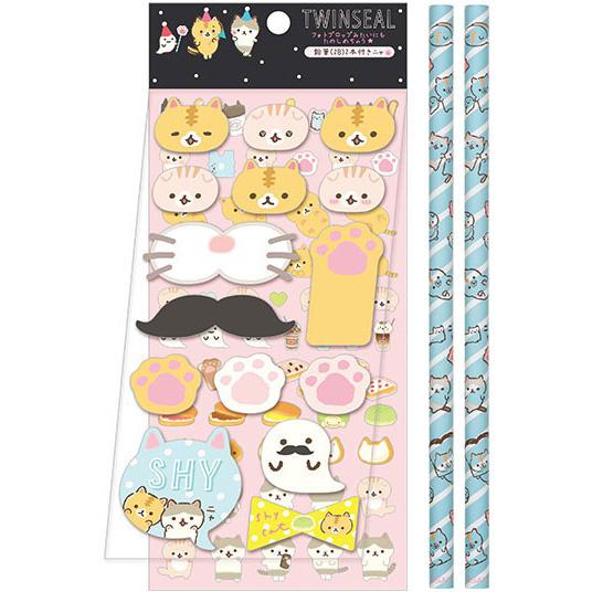 Corocoro Coronya foto props set van stickers en potloden