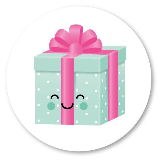 5 ronde stickers | cadeautje mintgroen en roze