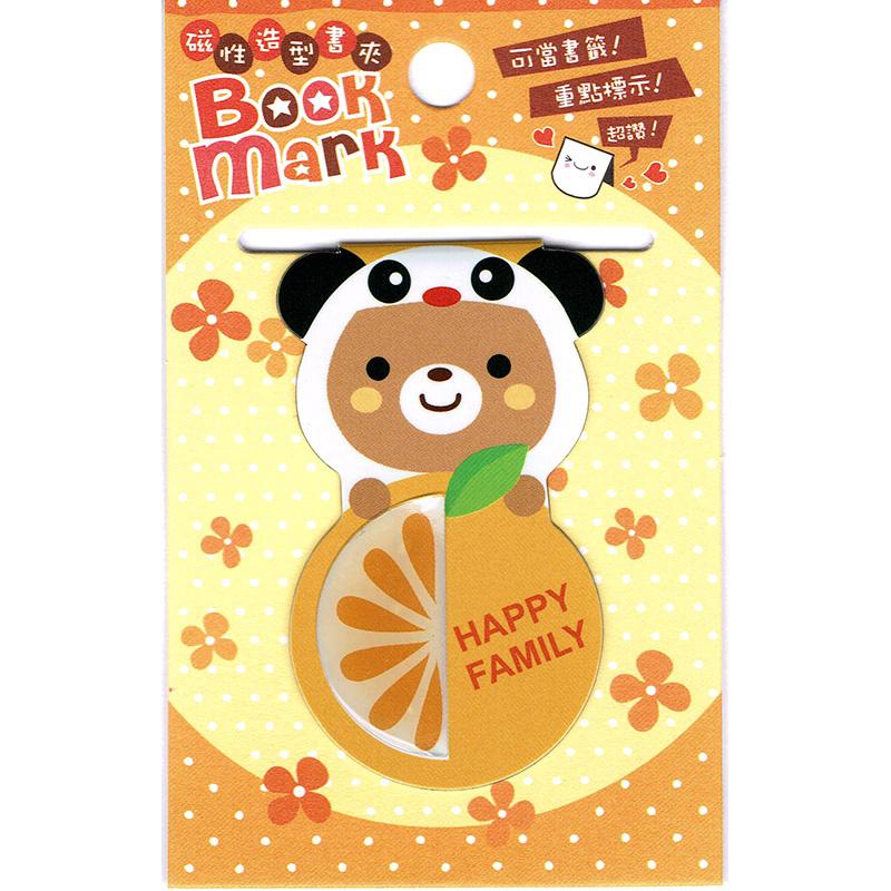 Magnetic bookmark Panda Bear & Orange