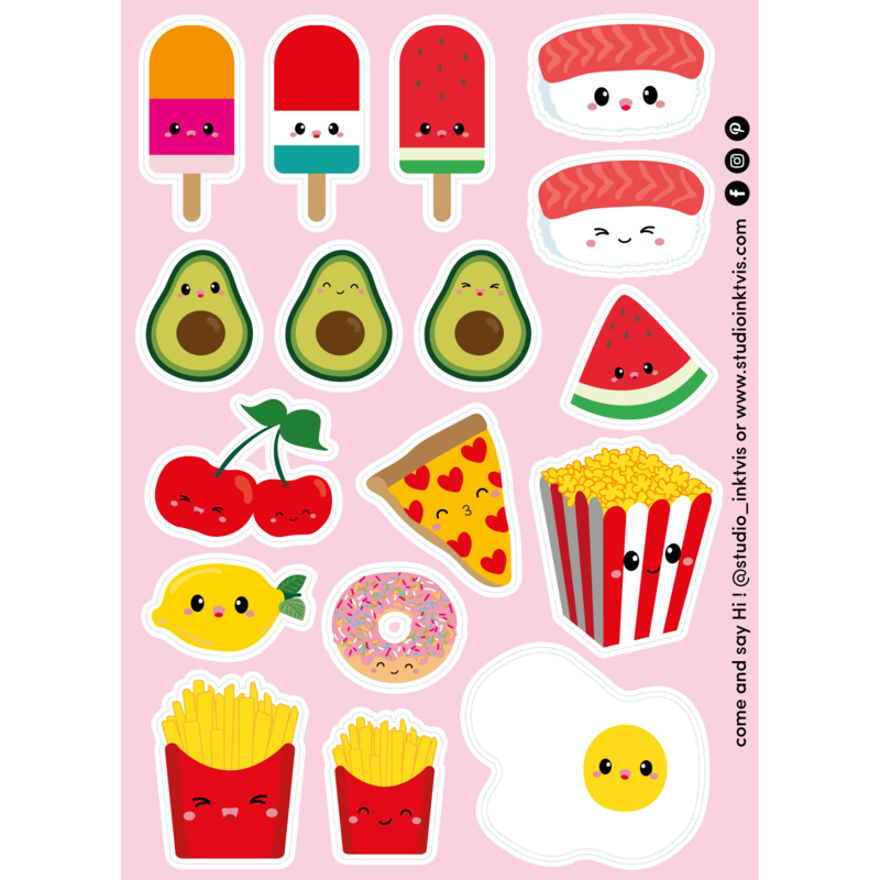 Stickervel yummy food with faces