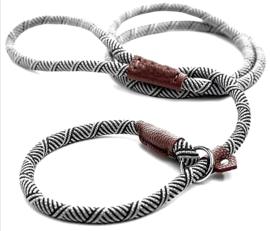 Slip Halsband / lijn   wit /zwart   180cm
