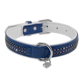 Dubbellaagse halsband met strass   Blauw    35-45cm