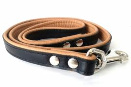 Leren hondenlijn / looplijn | Zwart / cognac | 120 x 2cm