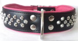 v- ELEGANCE leren halsband met studs | zwart/roze