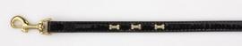 PETTARAZZI Zwarte looplijn met goudkleurige glitterbones