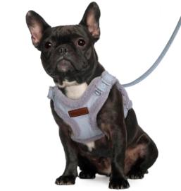 DIDOG Honden harnas en looplijn met bont   Lichtblauw / grijs  S, N