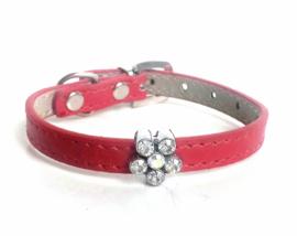 Honden halsbandje rood met strass   27 - 35cm