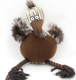 pluche hondenspeelgoed struisvogel met touw en geluid   27cm
