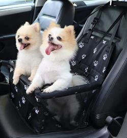 Honden autostoel paws zwart| 40x30x25cm