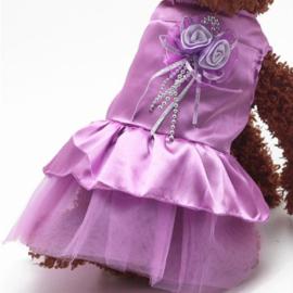 Satijn-look hondenjurk met tule | Paars | M, XXL