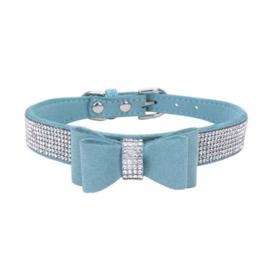 Puppy halsband met strik en strass | M