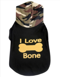 "Mouwloos hondenshirt  ""I love bone"" | S, M, L, XL, XXL"