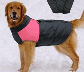 Mouwloze hondenjas / bodywarmer | Zwart / roze | M, L, XL, XXL, 3XL, 4XL