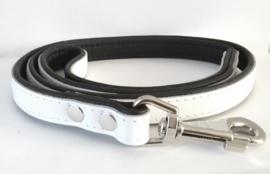 Leren hondenlijn / looplijn | Wit / Zwart | 120 x 2cm