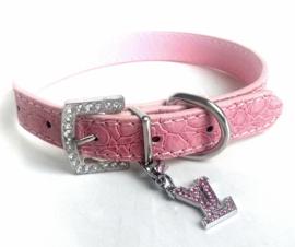 Hondenhalsband met strass en hanger   roze