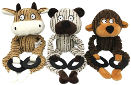pluche hondenspeelgoed met geluid | aap, beer, koe
