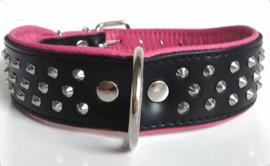 v- ELEGANCE leren halsband met studs   zwart/roze