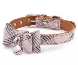 Honden halsband met strik en bel   roze cognac