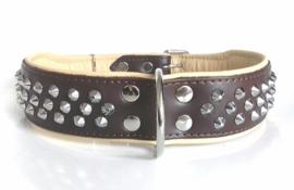 v- ELEGANCE leren halsband met studs | bruin/beige