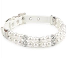 Luxe honden halsband met strass en parels | wit