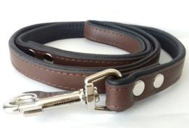 Leren hondenlijn / looplijn | Bruin / zwart | 120 x 2cm