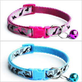 Nylon puppy halsbandje camouflage | roze, blauw