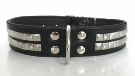 Leren honden halsband met studs | ZORAN | Zwart 75cm
