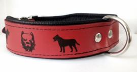v- Leren halsband Pitbull / Stafford 55cm   Rood/zwart