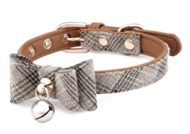 Honden halsband met strik en bel | beige cognac