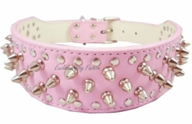 L01 - Halsband roze met spikes 53 - 61cm