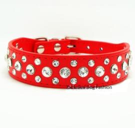 HB119 - Halsband strass   rood   28-34cm