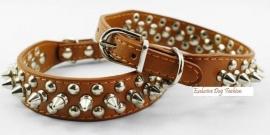 HB70 - Halsband met spikes en studs,bruin 33 - 37cm