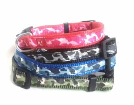 Nylon puppy halsband camouflage | Groen, zwart, roze, blauw