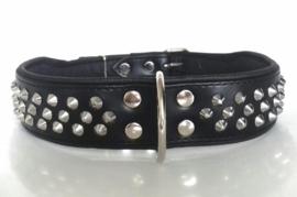 ELEGANCE leren halsband met studs | zwart 78cm