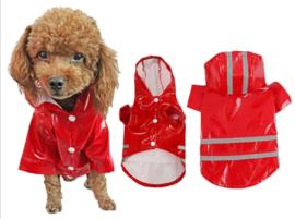Regenjas hond rood  S, M, L