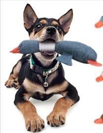 Hondenspeelgoed eend met piepgeluid 32cm