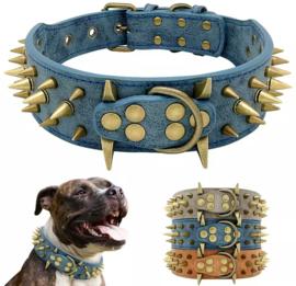 M01 - Brede honden halsbanden met spikes   55cm