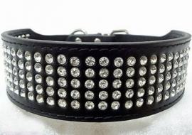 U02- strass halsband   zwart   43 - 51 cm