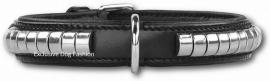 DOXTASY leren halsband Silverrow black  25mm