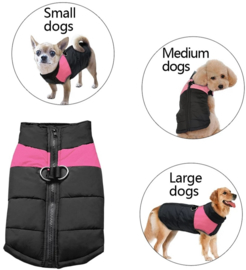 Mouwloze hondenjas / bodywarmer | Zwart / roze | M, XXL, 4XL