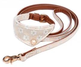 Halsband Bandana met lijn   Ivoor / cognac
