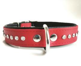 Leren honden halsband met strass   rood