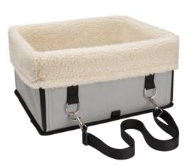 TAILLUP Honden autostoel met bont | grijs | 34x29x18cm